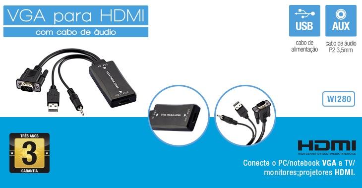 Resultado de imagem para CABO ADAP. VGA P/ HDMI C/ AUDIO E USB WI280 MULTILASER